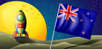The flag of New Zealand near the moon Stock Photo