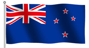 Flag of New Zealand Waving royalty free illustration