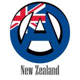 Flag of New Zealand of the world in the form of a sign of anarchy stock illustration