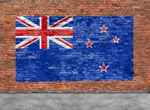 Flag of New Zeland and foreground. Flag of New Zeland painted on brick wall and part of foreground Stock Images