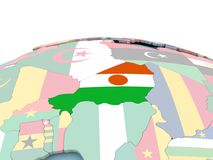 Flag of Niger on bright globe. Niger on political globe with embedded flags. 3D illustration Stock Photography