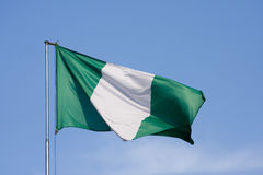 Flag of Nigeria. On a background blue sky stock images