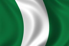Flag of Nigeria. Waving in the wind Royalty Free Stock Photography