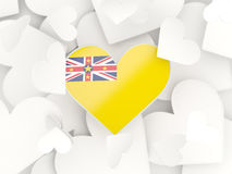 Flag of niue, heart shaped stickers. Background. 3D illustration Royalty Free Stock Images