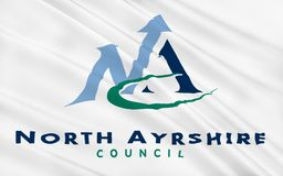 Flag of North Ayrshire council of Scotland, United Kingdom of Gr. Flag of North Ayrshire is one of 32 council areas in Scotland stock photo