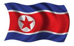 Flag of North Korea. Waving in the wind - CLIPPING PATH INCLUDED Stock Image