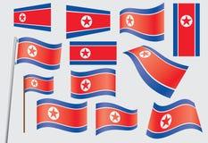 Flag of North Korea. Set of flags of North Korea vector illustration Royalty Free Stock Photos