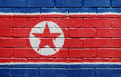 Flag of North Korea on brick wall Royalty Free Stock Image