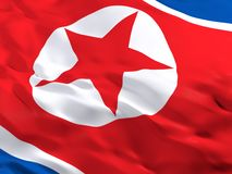 Flag of North Korea, DPRK. 3d beautiful Flag of North Korea, DPRK Royalty Free Stock Images