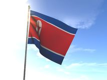 Flag of North Korea, DPRK. In the wind Royalty Free Stock Photo