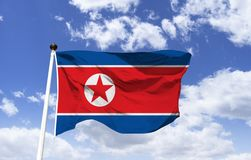 Flag of North Korea, peace and socialism. Flag of North Korea, red and blue colors represent peace and socialism, white a division of the other colors, on the royalty free stock photo