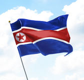 Flag of North Korea. Raised Up in The Sky Royalty Free Stock Images