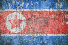 Flag Of North Korea. Vintage style. Old wall texture. Faded background. Stock Photography