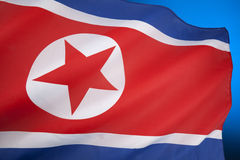 Flag of North Korea. The flag of North Korea was adopted on 8 September 1948, as the national flag and ensign of this isolationist Stalinist state Royalty Free Stock Photo