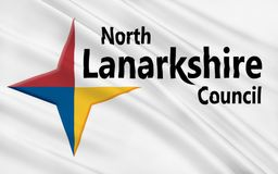 Flag of North Lanarkshire council of Scotland, United Kingdom of. Flag of North Lanarkshire is one of 32 council areas of Scotland royalty free stock images