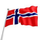 Flag of norway. 3d model on white background stock illustration