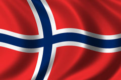 Flag of Norway. Waving in the wind Stock Photos