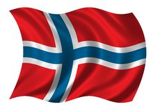 Flag of Norway. Waving in the wind Stock Images