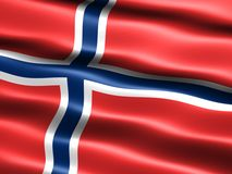 Flag of Norway. Computer generated illustration of the flag of Norway with silky appearance and waves Royalty Free Stock Photos