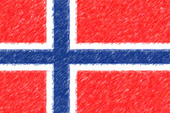 Flag of Norway background o texture, color pencil effect. Royalty Free Stock Image