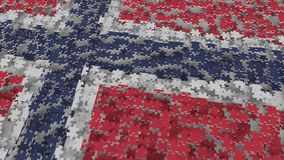 Flag of Norway being made with jigsaw puzzle pieces. Norwegian problem solution conceptual 3D rendering. Flag made of puzzle pieces, conceptual 3D vector illustration