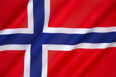 Flag of Norway. The  is a blue Scandinavian cross over the Dannebrog, the flag of Denmark. Adopted as the national  on 13th July 1821 Royalty Free Stock Photos