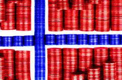 Flag norway. Build with coins Stock Photos