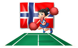 The flag of Norway with a cheerdancer. Illustration of the flag of Norway with a cheerdancer on a white background Royalty Free Stock Photography