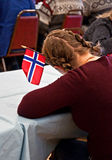 Flag of Norway in Girls' Braided Hair Royalty Free Stock Images