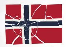 Flag of Norway on broken glass Stock Image