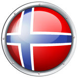 Flag of Norway on round badge. Illustration Royalty Free Stock Photography