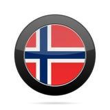 Flag of Norway. Shiny black round button. National flag of Norway. Shiny black round button with shadow Stock Image