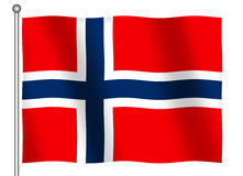 Flag of Norway Waving. (With Clipping Path royalty free illustration