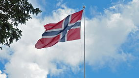Flag of Norway waving stock video footage