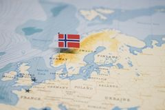 The Flag of norway in the world map royalty free stock photo