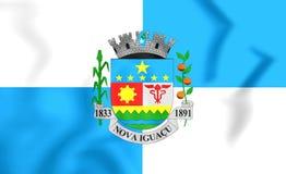 Flag of Nova Iguacu Rio de Janeiro state, Brazil. 3D Flag of Nova Iguacu Rio de Janeiro state, Brazil Stock Photos