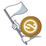 With flag Nxt coin mascot cartoon. Vector illustration Stock Image