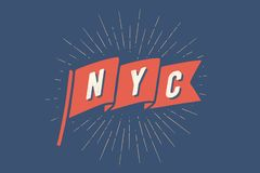Flag NY. Old school flag banner with text New York. City, USA. Ribbon flag in vintage style with linear drawing light rays, sunburst and rays of sun. Hand drawn vector illustration