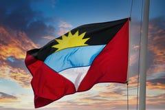 Flag Of Antigua On Sunset Sky Stock Image