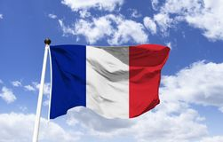 Free Flag Of France, Fluttering Under A Blue Sky Stock Photo - 151233860