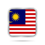 Flag Of Malaysia. Metallic Gray Square Button. Royalty Free Stock Image