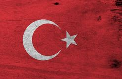 Flag Of Turkey On Wooden Plate Background. Grunge Turkish Flag Texture. Stock Image