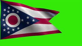 Flag of Ohio, OH, Columbus, March 1 1803, State of The United States of America, USA state - LOOP. Beautiful 3d flag animation on green/blue screen in 4k format stock video