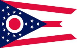 Flag of Ohio, USA. Flag of Ohio is a state in the midwestern region of the United States stock images
