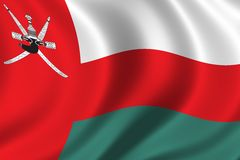 Flag of Oman. Waving in the wind Royalty Free Stock Photo