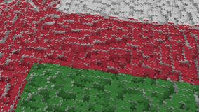Flag of Oman being made with jigsaw puzzle pieces. Omani problem solution conceptual 3D rendering. Flag made of puzzle pieces, conceptual 3D royalty free illustration