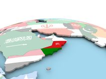 Flag of Oman on bright globe. Oman on political globe with embedded flags. 3D illustration Royalty Free Stock Image
