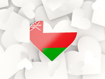 Flag of oman, heart shaped stickers. Background. 3D illustration Royalty Free Stock Images