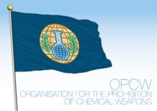 Flag of the OPCW, Organization for the Prohibition of Chemical Weapons. Flag of the OPCW, vector illustration. international organization, isolated on the blue Royalty Free Stock Photography
