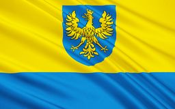 Flag of Opole Voivodeship in Poland. Flag of Opole Voivodeship or Opole Province in Poland stock photography